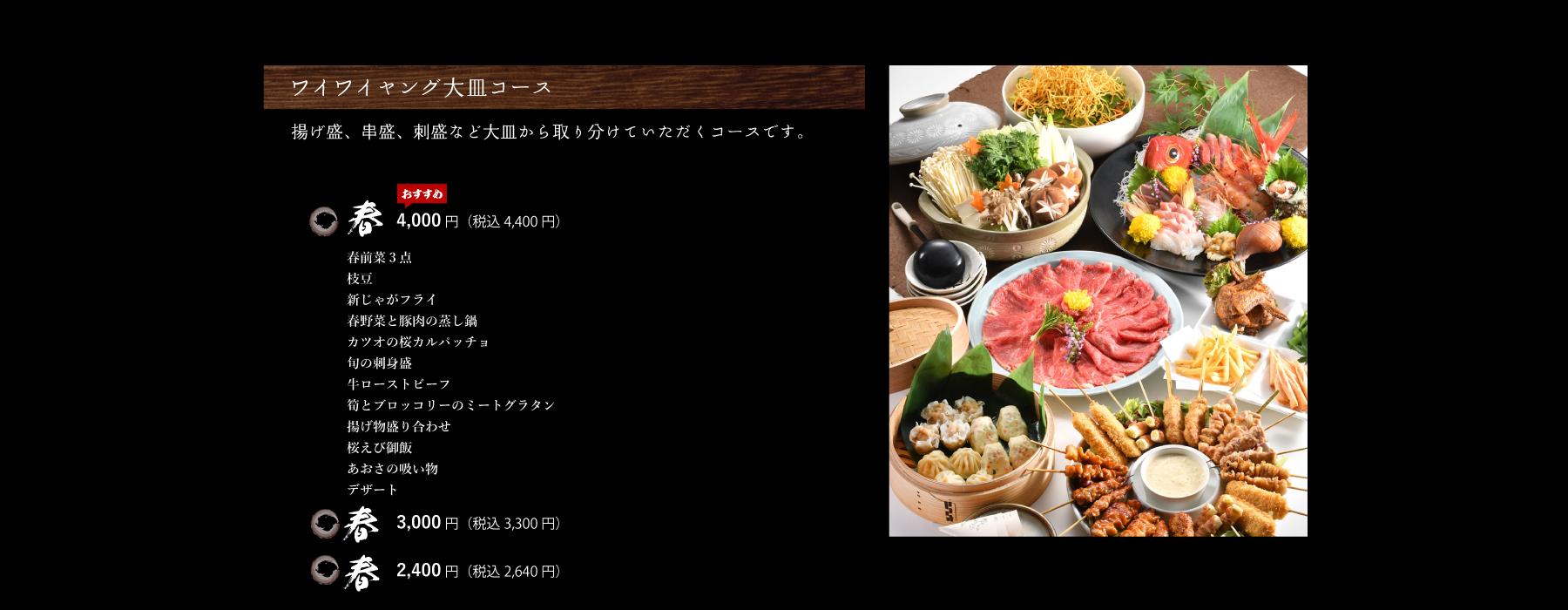 ワイワイヤング大皿コース詳細